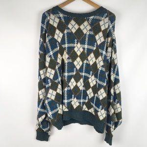 Vintage   grandpa sweater plaid ugly oversize 0482